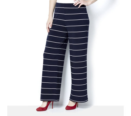 Printed Liquid Knit Comfort Waist Wide Leg Trousers by Susan Graver
