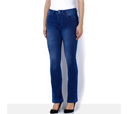 Nick Verreos Stretch Denim Bootcut Jeans with Mock Fly Front