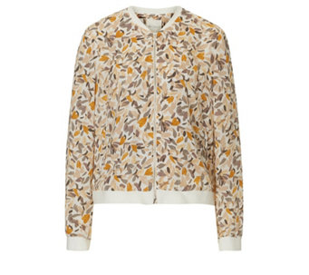 Betty & Co Cream Graphic Leaf Print Bomber Jacket - 166028