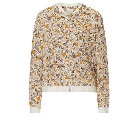 Betty & Co Cream Graphic Leaf Print Bomber Jacket