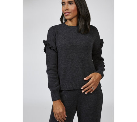 Long Sleeve Round Neck Sweater with Ruffle Detail by Nina Leonard