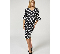 Ruth Langsford Chequered Print Fluted Sleeve Zip Back Dress - 170528