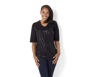 Quacker Factory Sequin Front Elbow Length Sleeve V-Neck T-Shirt - 137029