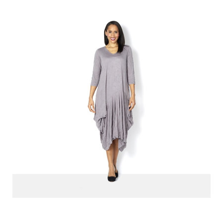 Yong Kim Crinkle Jersey Dress with Ruched Skirt