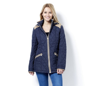 Centigrade Diamond Quilted Zip Front Jacket with Removable Hood - 163829