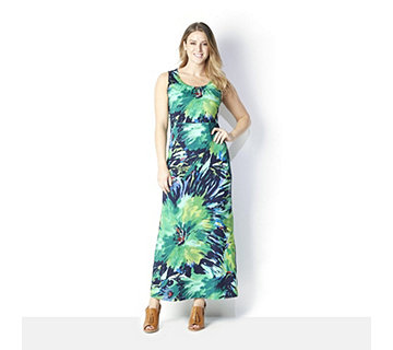 Nick Verreos Sleeveless Printed Jersey Maxi Dress - 164429