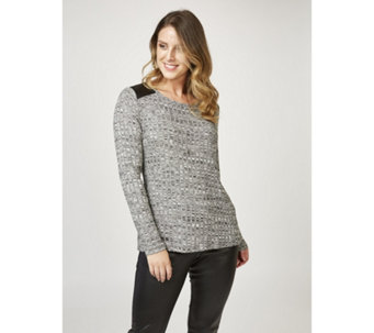 Kim & Co Rib Knit Long Sleeve Pleather Combo Detail Top - 165929