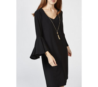 Coco Bianco 3/4 Flared Sleeve Dress with Removable Necklace - 167529