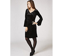 Ronni Nicole V Neck Bell Sleeve Velvet Swing Dress - 167729