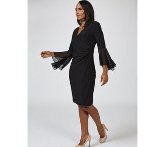 Coco Bianco Long Sleeve V Neck Wrap Dress with Fluted Cuffs - 168529