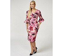 Ruth Langsford Floral Print Fluted Sleeve Zip Back Jersey Dress - 170529