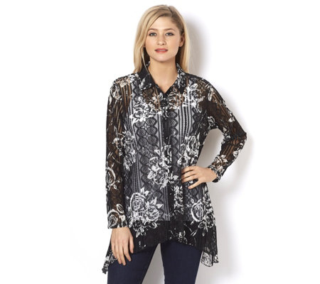 Midnight Rose Sharkbite Hem Shirt by Michele Hope