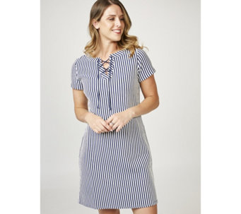 C. Wonder Short Sleeve Lace Up Neck Dress - 165230