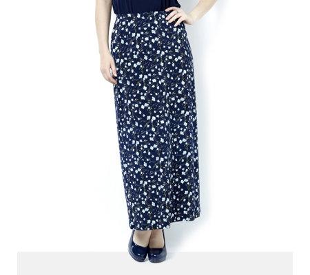 Kim & Co Brazil Knit Scattered Blossoms Maxi A-Line Skirt - QVC UK