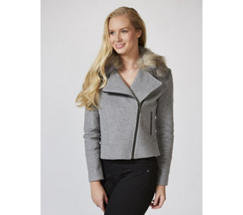 Helene Berman Biker Jacket with Faux Fur Collar - 166230