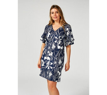 Coco Bianco V Neck Double Ruffle Sleeve Shift Dress - 172330