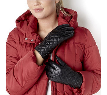 Dennis Basso Quilted Lamb Leather Gloves - 113531