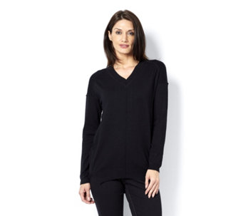 V Neck Jumper with Back Zip Detail by Michele Hope - 150431