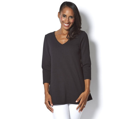 """As Is"" Attitudes by Renee 3/4 Sleeve V Neck Tunic"
