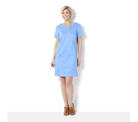 C. Wonder Denim Dress with Split Neck