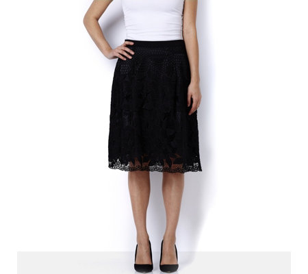 Isaac Mizrahi Live Broderie Lace Full Skirt