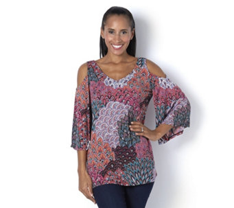 Coco Bianco 3/4 Sleeve Cold Shoulder Printed Tunic - 165031