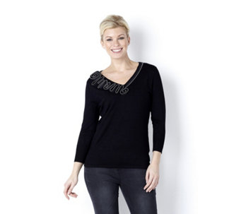Marble Soft Touch V Neck Swirl Zip Trim 3/4 Sleeve Jumper with Studs - 138432
