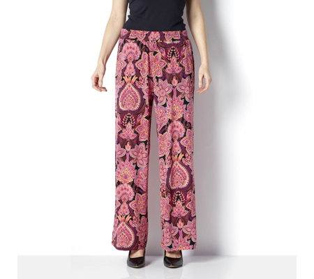 Printed Wide Leg Trouser Petite Elasticated Waist by Nina Leonard