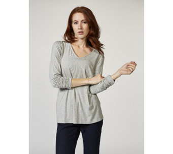 Zac & Rachel 3/4 Ruched Sleeve V Neck Jersey Top - 168732