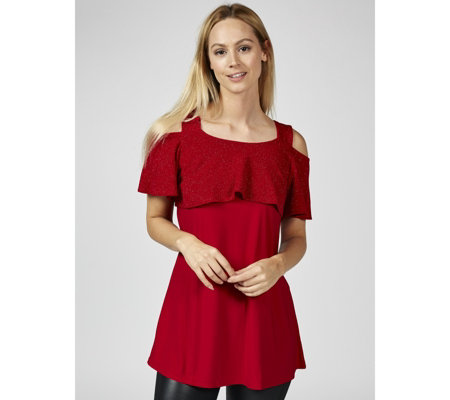 Grace Cold Shoulder Glitter Frill Tunic