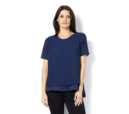 H by Halston Layered  Woven Top