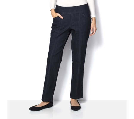 "Denim & Co. ""How Smooth"" Straight Leg Petite Jean"