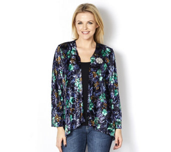 Bloomingdale Floral Burnout Cardigan with Diamante Brooch by Michele Hope - 162433