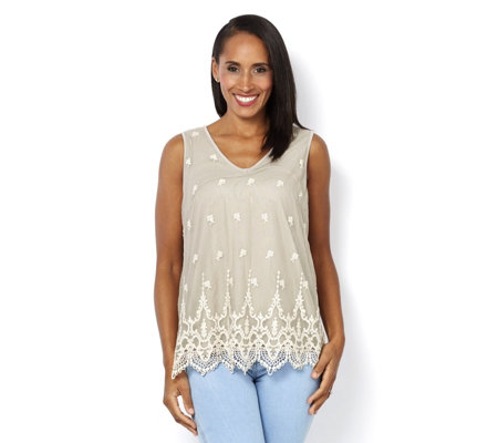 Together Lace Overlay Sleeveless Top