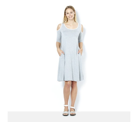 Scoop Neck 3/4 Sleeve Cold Shoulder Dress by Nina Leonard