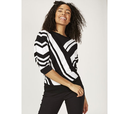 Andrew Yu Knitted Striped Dolman Sleeve Jumper