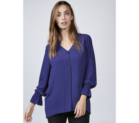Georgette Blouse with Gathered Sleeve Detail by Michele Hope
