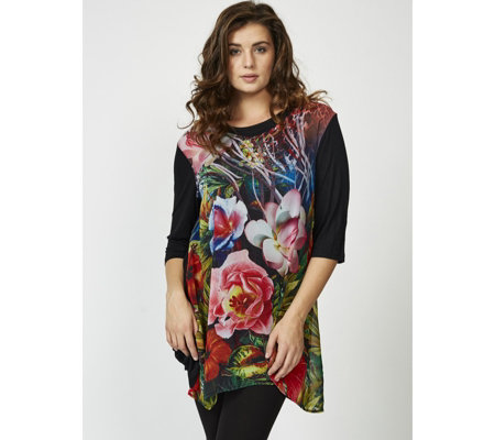 Butler & Wilson Flowers Scoop Neck 3/4 Sleeve Top