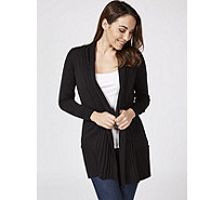 Knitted Edge to Edge Cardigan with Ribbed Placket by Michele Hope - 170433