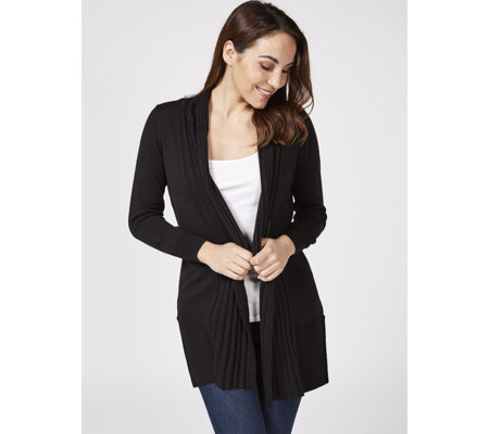 Knitted Edge to Edge Cardigan with Ribbed Placket by Michele Hope