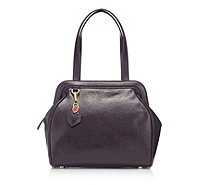 Lulu Guinness Large Paula Grainy Patent Leather Handbag with Lip Charm - 161334