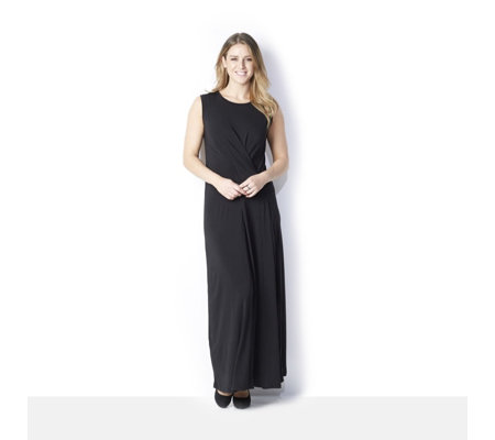 Nick Verreos Sleeveless Jersey with Side Pleat Maxi Dress