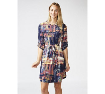 Printed 3/4 Sleeve Dress with Faux Pockets & Zip by Nina Leonard - 166634