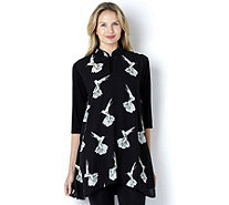 Butler & Wilson White Birds Print Chinese High Neck Top - 157035