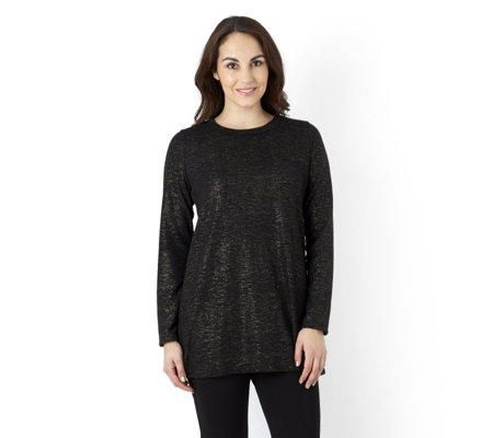 Kim & Co Shimmer Mirage Long Sleeve Flared Tunic