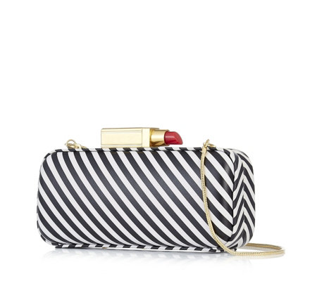 Lulu Guinness Carrie  Stripe Leather Clutch