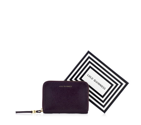 Lulu Guinness Small Grainy Patent Leather Zip Wallet