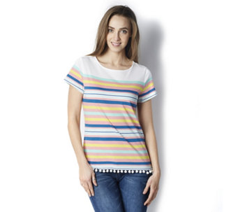 C. Wonder Printed Striped Knit Tee with Pom Pom Trim - 162735