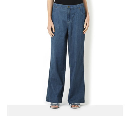 Denim & Co. Stretch Chambray Wide Leg Trousers