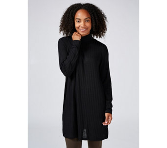 Kim & Co Rib Knit Long Sleeve Turtle Neck Tunic with Side Slits - 165935